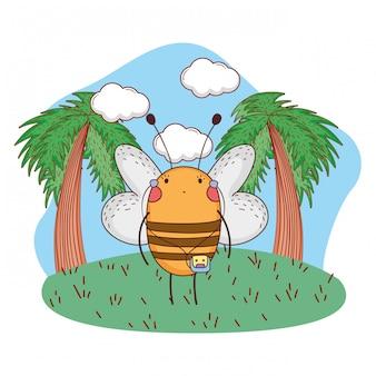 Carina piccola ape con walkman nel campo