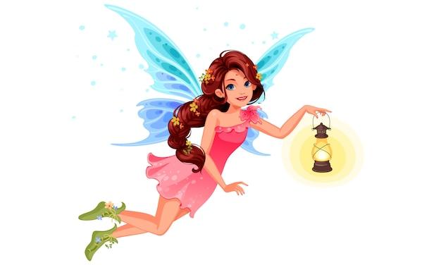 Carina piccola fata con una bella acconciatura lunga intrecciata in possesso di una lanterna