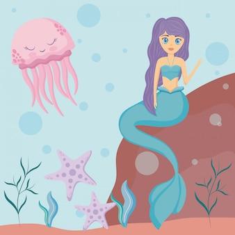Carina sirena con polpo e stella marina