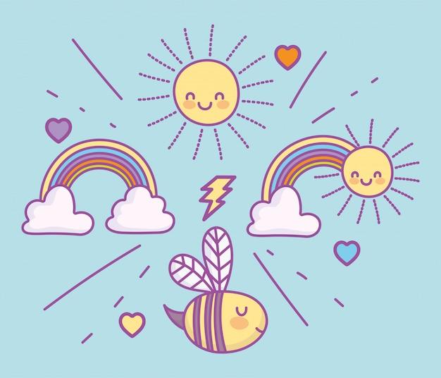 Carino adorabile ape arcobaleni calouds sole adorabile fumetto illustrazione