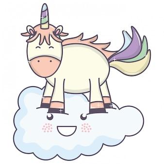 Carino adorabile unicorno e nuvola kawaii personaggi fata