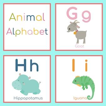 Carino alfabeto animale. lettera g, h, i capra, ippopotamo, iguana.