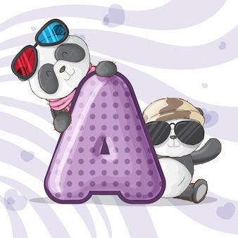 Carino alfabeto panda lettera alfabeto-vettoriale