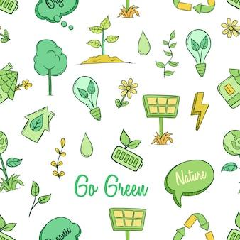 Carino andare icone verdi concetto nel modello senza cuciture con stile doodle