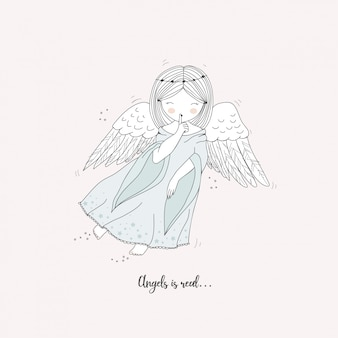 Carino angelo disegnato a mano