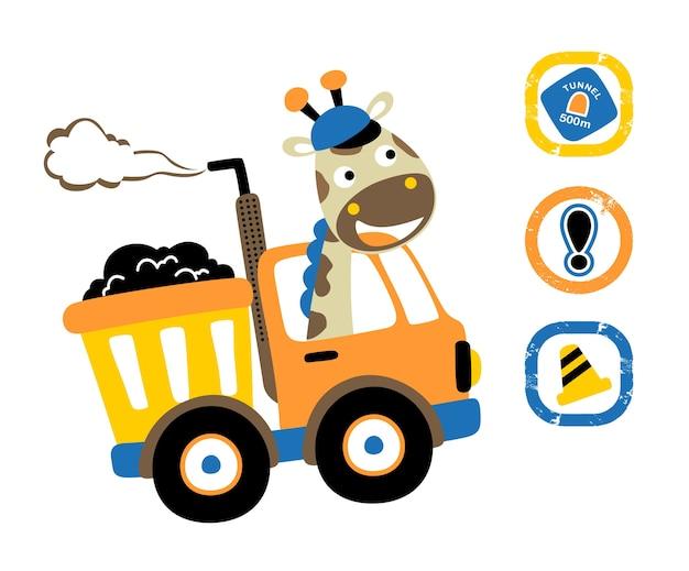 Carino animale su camion con segnaletica stradale