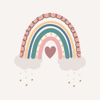Carino arcobaleno colorato con gocce e cuore isolato.