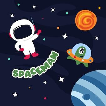 Carino astronauta nello spazio esterno con alcuni pianeti e stelle