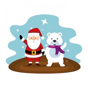 Carino babbo natale con caratteri orso polare