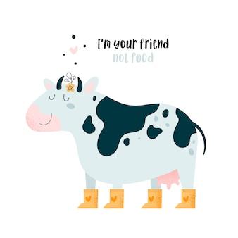 Carino bella mucca animale toro. salva e ama gli animali. animale da fattoria. vai vegano