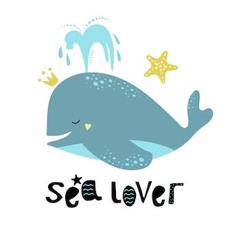 Carino blu balena con una stella marina d'oro.