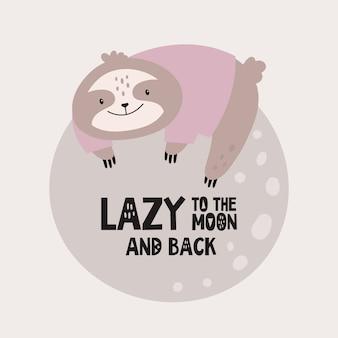 Carino bradipo pigro sulla luna