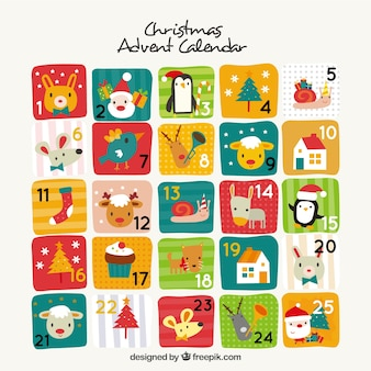 Carino calendario dell'avvento in design vintage
