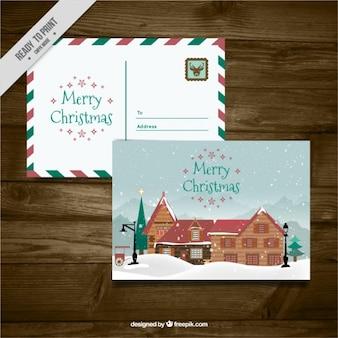 Carino cartoline di natale con una cabina
