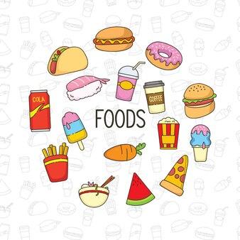 Carino cibo doodle