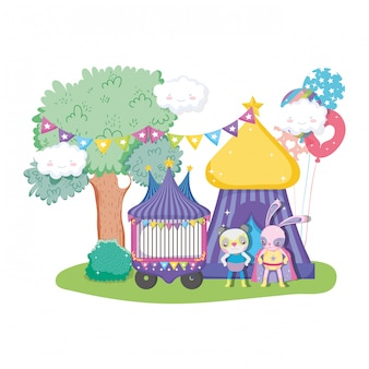 Carino circo gatto e coniglio in tenda