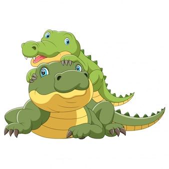 Carino coccodrillo madre con coccodrillo bambino