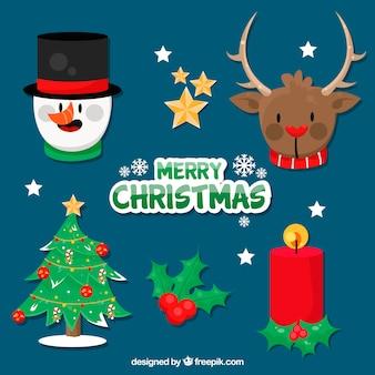 Carino collezione di elementi natalizi