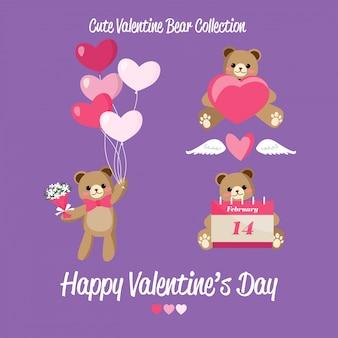 Carino collezione di orsetti di san valentino.