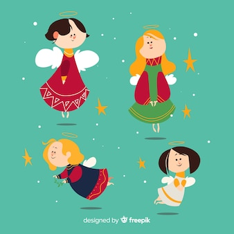 Carino collezione di personaggi angeli di natale