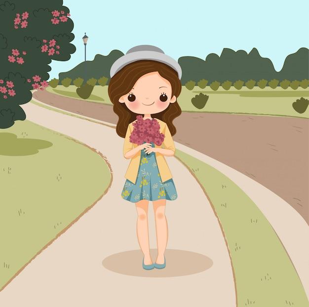 Carino con fiore personaggio dei cartoni animati, vettore isolato con lo sfondo.