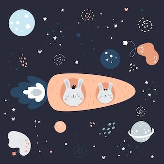 Carino coniglietto di coniglio astronave in razzo di carota nello spazio andare sulla luna nel cielo notturno di fantasia con pianeti, stelle e nuvole