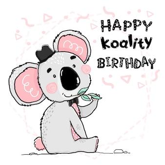 Carino contorno disegno felice koala grigio e rosa indossare cappello nero e fiocco cartolina d'auguri
