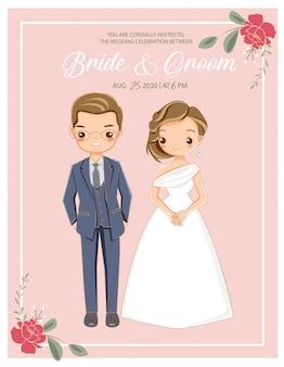 Carino coppia romantica in abito da sposa