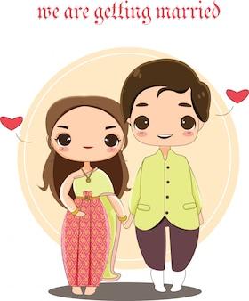 Carino coppia thailandese in abito tradizionale