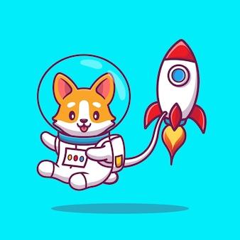 Carino corgi astronaut with rocket cartoon icon illustration. concetto dell'icona dello spazio animale isolato. stile cartone animato piatto