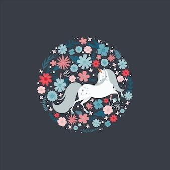 Carino cornice rotonda con un unicorno circondato da fiori.