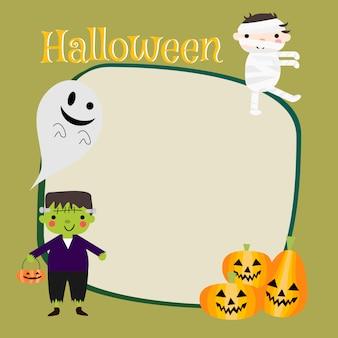 Carino costumi di halloween per lo sfondo del bambino.