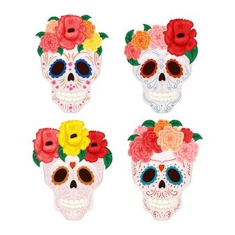 Carino cranio maschile e femminile con corona di fiori e baffi e cappello sombrero