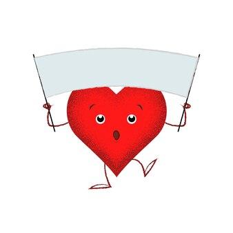Carino cuore rosso che tiene bandiera vuota