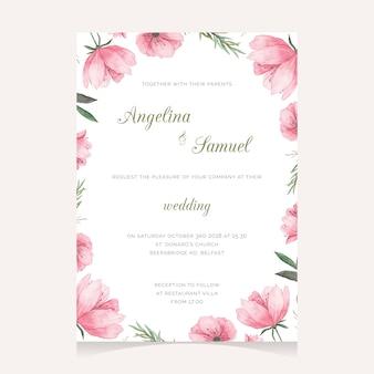 Carino disegno floreale dell'invito di nozze
