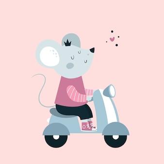 Carino divertente mouse topo animale giro in moto