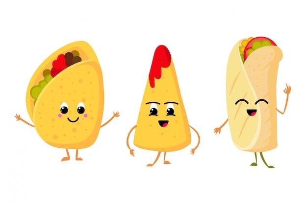Carino divertente taco di mais, burrito e nachos con sorriso in faccia. insieme di vettore di cibo messicano fresco pranzo