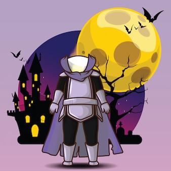 Carino dullahan a sfondo di luna piena concetto di personaggio di halloween