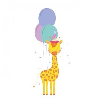 Carino e piccola giraffa con cappello di partito e palloncini d'aria