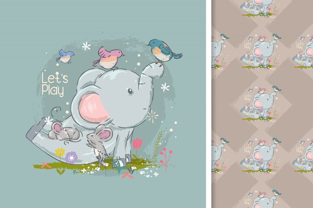 Carino elefanti e uccelli cartoni animati e seamless