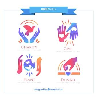 Carino etichette di beneficenza insieme