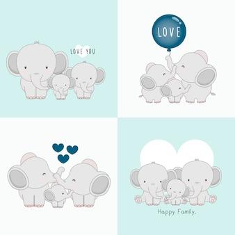 Carino famiglia di elefanti con un piccolo elefante nel mezzo.