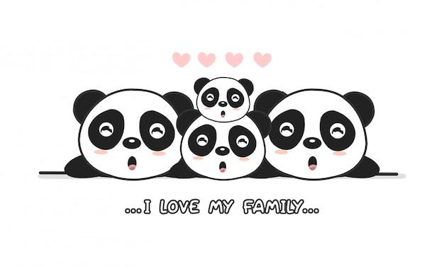 Carino famiglia panda felice dire