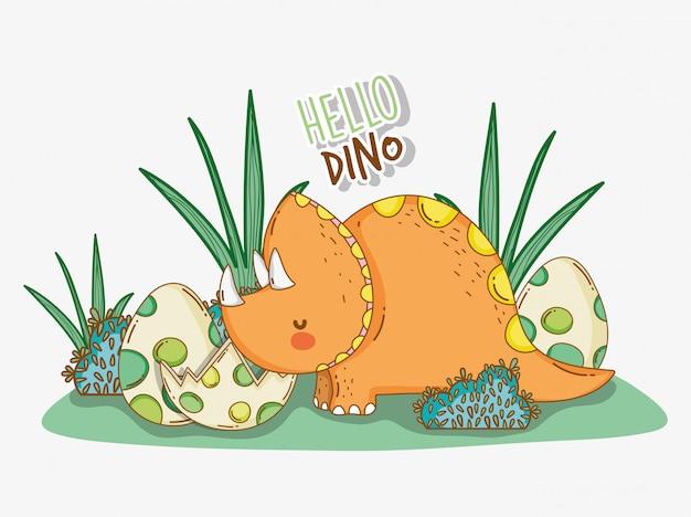 Carino fauna selvatica triceratopo con uova di dino