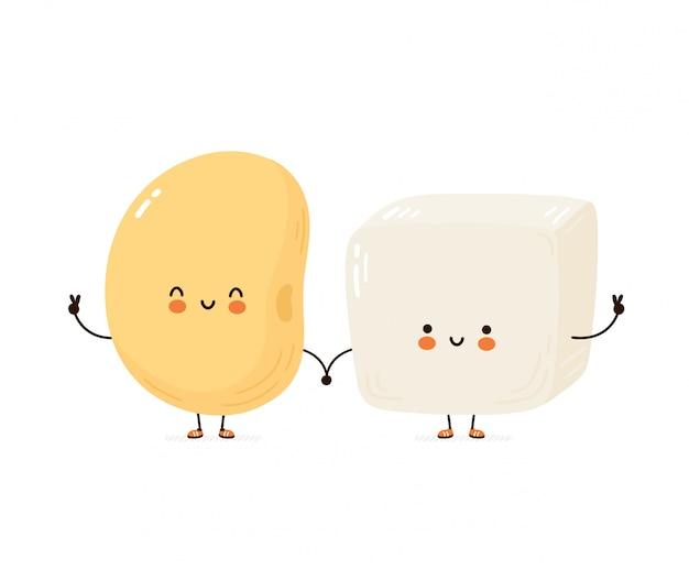 Carino felice divertente tofu e fagioli di soia. personaggio dei cartoni animati disegno a mano illustrazione di stile. isolato su sfondo bianco