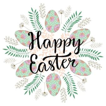 Carino felice lettering di pasqua sulla lavagna di celebrazione con floreali e uova