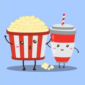 Carino felice pop corn e bevande gassate disegno vettoriale