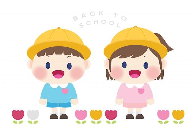 Carino felice studente elementare torna al vettore di scuola