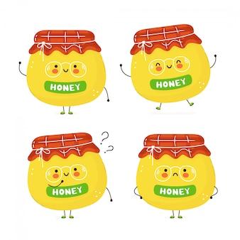 Carino felice vaso di miele insieme. isolato su bianco progettazione dell'illustrazione del personaggio dei cartoni animati di vettore, stile piano semplice. barattolo di miele personaggio pacco, concetto di raccolta