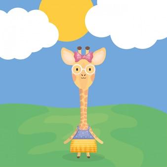 Carino femmina giraffa con carattere vestiti